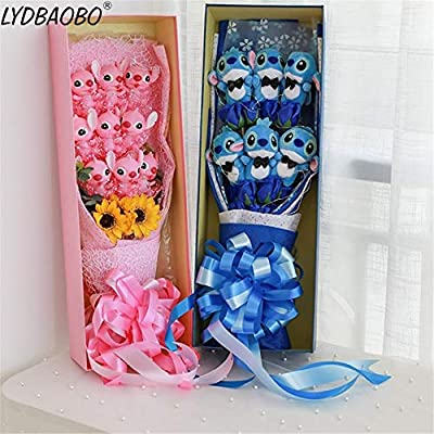 Best Quality - Movies & TV - 1pc Lovely Stitch & Stitch Lilo Festivals Gift Bouquet with Fake Rose Flowers Silicone doll Children Girlfriend Valentine's Gift - by Pasona - 1 PCs: Kitchen & Dining