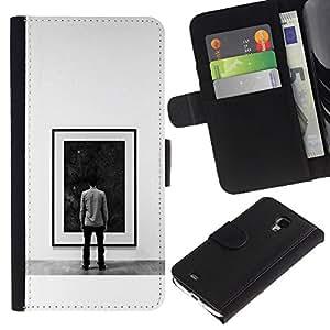 KLONGSHOP // Tirón de la caja Cartera de cuero con ranuras para tarjetas - Pintura Espacio Profundo - Samsung Galaxy S4 Mini i9190 //
