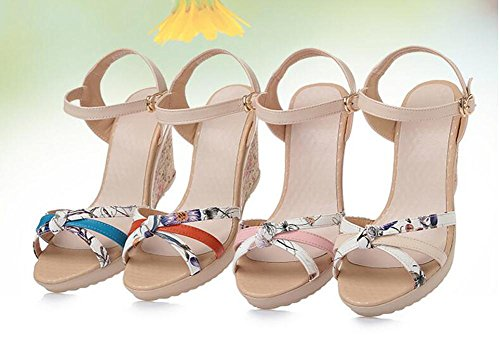 Girls L@YC Women Summer Sandals Sandals Leather Thick Casual Comfort High Heel Waterproof Platform , blue , 38