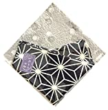 Japanese Traditional Pattern Small Furoshiki, Bandana, Handkerchief, Cloth Napkin, Gift Set, 100% Cotton Made In Japan (navy-asanoha (hemp leaf))
