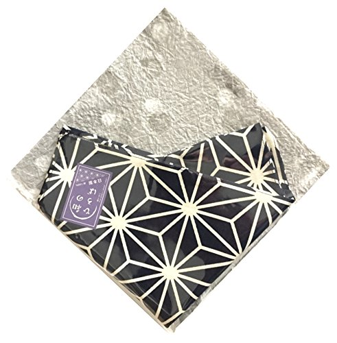 Japanese Traditional Pattern Small Furoshiki, Bandana, Handkerchief, Cloth Napkin, Gift Set, 100% Cotton Made In Japan (navy-asanoha (hemp leaf)) -