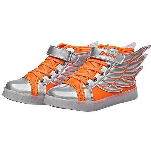 UDreamTime Kinder 7 Farben LED-Blitzen-Turnschuhe Sportschuhe mit Flügeln Orange