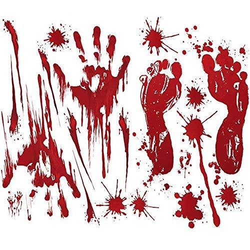 Arfun 80PCS Halloween Decorations Bloody Footprints & Handprints Floor Clings Window Decals Stickers for Halloween Vampire Zombie -