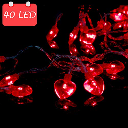 14.5ft 40LED Valentines Decorations String Lights, Heart Shape Valentines Day Decor for Indoor Outdoor Home Room Party Wedding Hanging]()