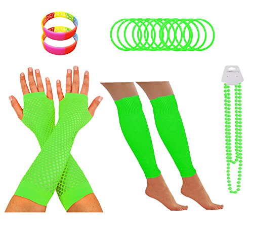 RED STAR FANCY DRESS 1980S Party Leg Warmers Fishnet Gloves Necklace Wristband One Size Green (1980 Fancy Dress Outfits)