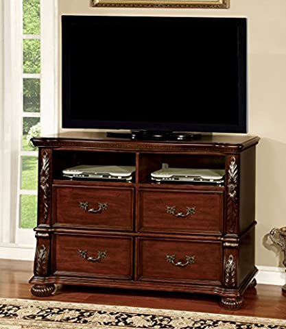 Furniture of America Caldara Traditional Media Chest, Brown Cherry - Cherry Finished Tv Stand