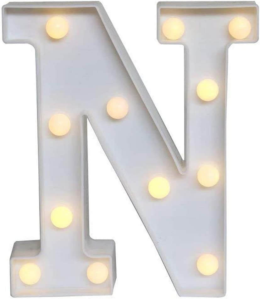 Sunnyglade White Marquee LED Alphabet Lights Arabic Numerals Lights for Party Home Bar Wedding Decor, Alphabet Wall Decoration Letter Lights (N)