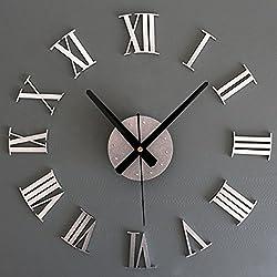 Lopkey 3D Creative Home Modern Art Metallic Roman Numerals Decoration DIY Wall Clock
