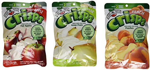 Brothers-ALL-Natural Freeze Dried Fruit Crisps 3 Flavor Variety 6 Bag Bundle: (2) Fuji Apple, (2) Asian Pear, and (2) Peach, .56 Oz. Ea. (6 Bags ()