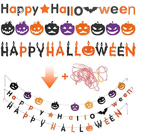 3 Pack Halloween Decoration Banners Water Proof Indoor Outdoor Use For Halloween Party Trick or Treat -Halloween banner-3pack