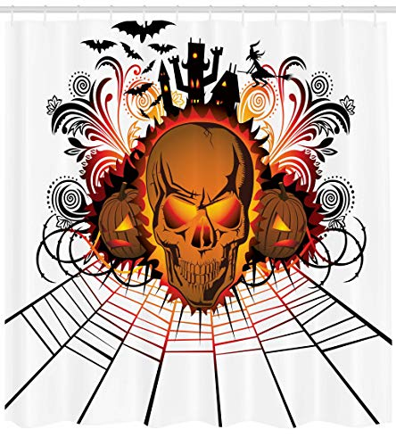 Ambesonne Halloween Shower Curtain, Angry Skull Face on Bonfire Spirits of Other World Concept Bats Spider Web Design, Cloth Fabric Bathroom Decor Set with Hooks, 70 Inches, Multicolor
