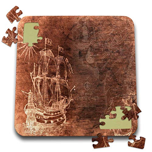 3dRose Lens Art by Florene - Vintage Style - Image of Schooner Anchor and Compass On Middle Earth Map - 10x10 Inch Puzzle (pzl_313445_2)