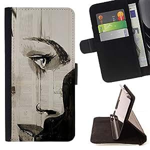 """Arte carbón Labios Pintura Eye"""" Colorida Impresión Funda Cuero Monedero Caja Bolsa Cubierta Caja Piel Id Credit Card Slots Para Samsung ALPHA G850"""