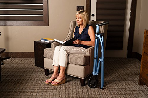 Able Life Space Saver Walker - Lightweight Folding & Height Adjustable Adult Travel Walker for Seniors + Fixed Wheels & Rear Glides - Cobalt Blue by Able Life (Image #7)