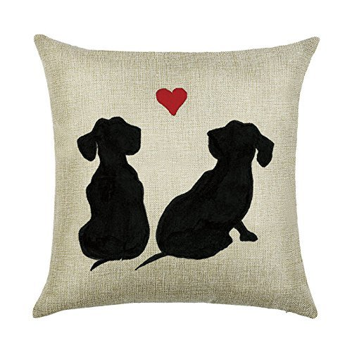 Price comparison product image Acelive Gift For Valentine's Day 20 x 20 Inches Black Dog Couple Watch Heart-shaped Pattern Cotton Linen Throw Cushion Cover Pillow Case Sofa Bedroom Living Room Square