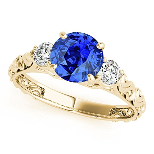 MauliJewels 0.70 Carat Ttw Diamond and Round Shaped Tanzanite Ring in 10K Yellow - Ring Diamond Round Tanzanite