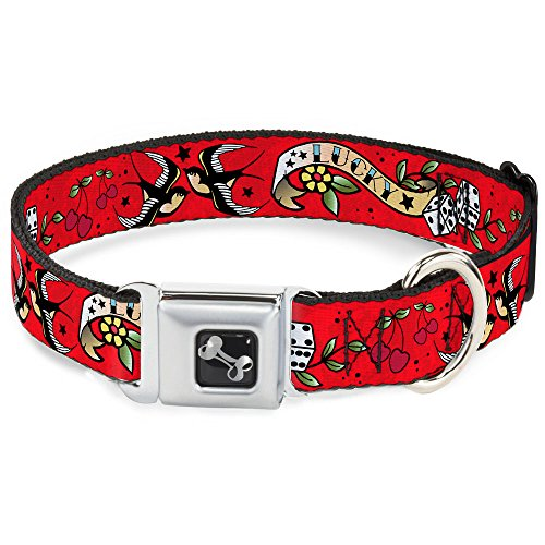 Dog Collar Seatbelt Buckle Lucky Red 15 to 26 Inches 1.0 Inch Wide ()
