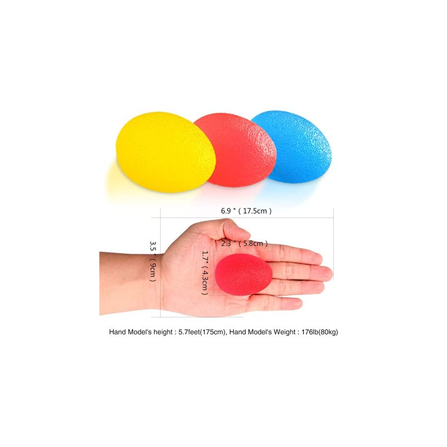 Dimples Excel Squeeze Stress Balls for Hand, Finger and Grip Strengthening Set of 3 Resistance