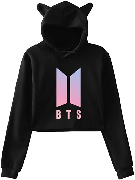 Kpop BTS Love Yourself Hoodie Cat Ear Exposed Navel Fashion Kawaii Hooded  Womens at Amazon Women s Clothing store  46a3a0c50f
