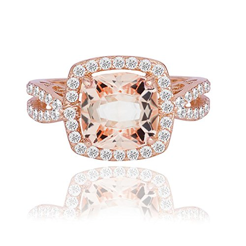 (NYC Sterling Women Infinity Shank Halo Cushion Simulated Morganite Round CZ Rose Tone Plated 925 Sterling Silver (8))