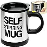 perfect home office ideas for men Self Stirring Coffee Mug Cup - Funny Electric Stainless Steel Automatic Self Mixing & Spinning Home Office Travel Mixer Cup Best Cute Christmas Birthday Gift Idea for Men Women Kids 8 oz by Chuzy Chef