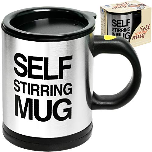 Self Stirring Coffee Mug Cup - Funny Electric Stainless Steel Automatic Self Mixing & Spinning Home Office Travel Mixer Cup Best Cute Christmas Birthday Gift Idea for Men Women Kids ()