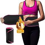 Waist Trimmer Belt,Weight Loss Belt Sweat Belt Waist Trainer Belt Slimming Belt for Women&Men Stomach Fat Burner Low Back Lumbar Support Adjustable Velcro Strap with Sauna Suit Effect(Pink-Medium)