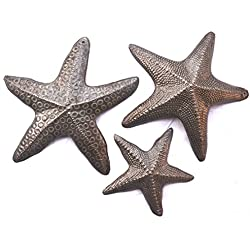"it's cactus - metal art haiti Starfish, Set of 3, Nautical Home Decor, Recycled Wall Art 8"", 8"" and 5"""