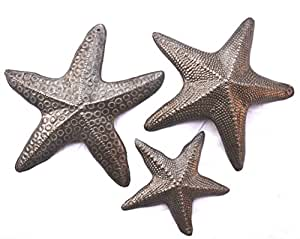 """Starfish, Set of 3, Nautical Home Decor, Recycled Wall Art 8"""", 8"""" and 5"""""""