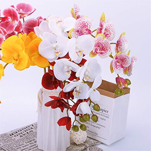 Sun·Light Artificial Flower Silk Moth Orchid Phalaenopsis Bridal Wedding Bouquet Decor Fake Flowers Home Furnishing Decor-Colored - Bouquets Phalaenopsis Bridal Orchid