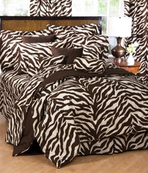 African Bedskirt - Brown and Tan Zebra 6 Pc EXTRA LONG TWIN Comforter Set (Comforter, 1 Flat Sheet, 1 Fitted Sheet, 1 Pillow Case, 1 Sham, 1 Bedskirt) SAVE BIG ON BUNDLING!