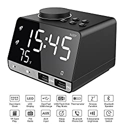 Srocker Digital Alarm Clock with Wireless Bluetooth Speaker, Dual Port USB Charger, AUX TF Card Play, FM Radio, Thermometer, Large Mirror LED Dimmable Display for Bedroom, Kitchen, Hotel, Table, Desk