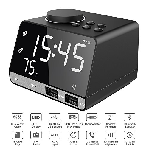 Srocker Digital Alarm Clock with Wireless Bluetooth Speaker, Dual Port USB Charger, AUX TF Card Play, FM Radio, Thermometer, Large Mirror LED Dimmable Display for Bedroom, Kitchen, Hotel, Table, Desk Multifunction Wall Station