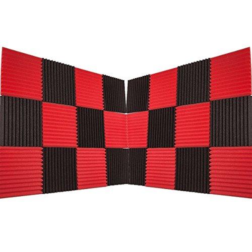 Foamily 24 Pack - Red/Charcoal Acoustic Panels Studio Foam Wedges 1