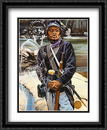Female Buffalo Soldier 2x Matted 22x28 Large Black Ornate Framed Art Print by J. - The Galleria Buffalo