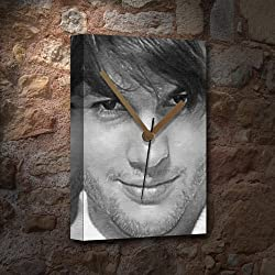 Seasons ASHTON KUTCHER - Canvas Clock (LARGE A3 - Signed by the Artist) #js006