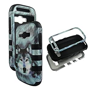 Hybrid 3 / 1 Bk Snow Wolf Samsung Galaxy Ring / Prevail 2 M840 Hybrid Box Tuff Combo Rugged Body Armor Defender Triple Layer Shockproof Case Cover Phone Protector Snap on Tuff Combo Rugged Body Armor Defender Triple Layer Shockproof Case Cover Faceplates