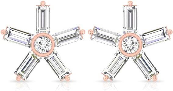 0.56 Carat Baguette IGI Certified Diamond Starburst Earring, Round Diamond Flower Flat Back Post Stud, Vintage Women Star Wedding Bridal Earring Gifts, Screw Back