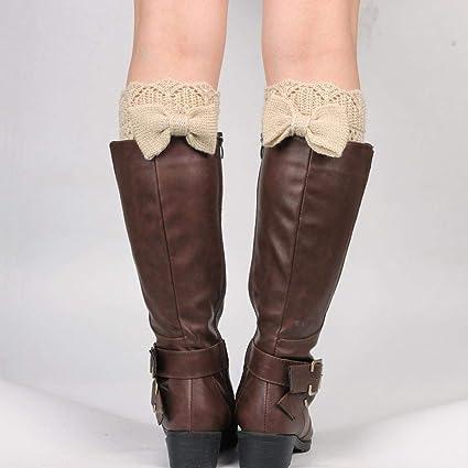 VJGOAL Mujeres de moda casual Bowknot Crochet de punto de la pierna de la pierna de peluche corto cubierta calcetines(Un tamaño, Beige): Amazon.es: Ropa y ...