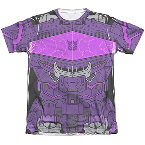 Transformers Shockwave Costume Unisex Adult Front Only Poly/Cotton Sublimated T Shirt for Men and Women, Medium White