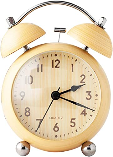 Wowkiki 4.5 Inch Metal Twin Bell Alarm Clock, Silent Non-Ticking Battery Control, Classic Matte Texture Small Table Clock for Bedrooms. Wood Texture