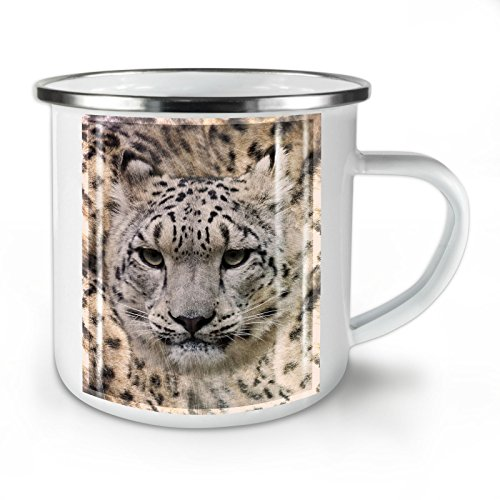 Marbled Enamel - Big cat Beast Wild Enamel Mug, Marbled Cup - Strong, Easy-Grip Handle, Two Side Print, Ideal for Camping & Outdoors By Wellcoda