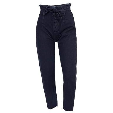 1600c68cc291 Hibote Femme Jeans Jeggings Taille Haute Straight Denim Pantalon Stretch  Denim Pantalon Ceinture Sexy Crayon Pantalons