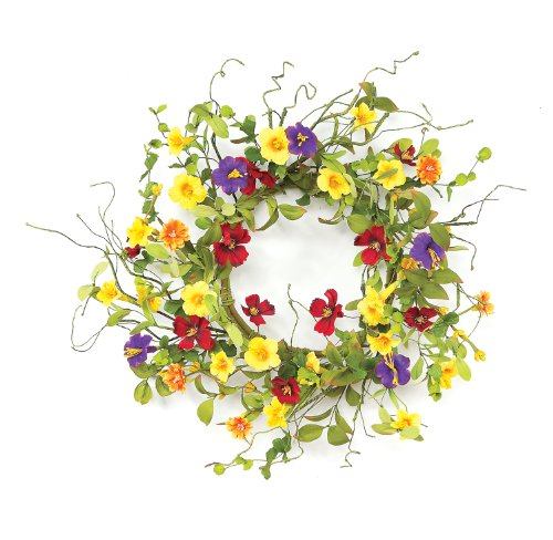 Melrose International 20-Inch Diameter Summer Garden Trumpet Wreath
