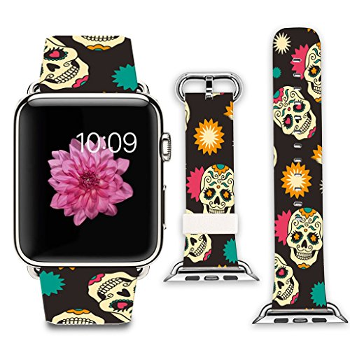 Viwell Compatible with Apple Watch 38mm Stainless Steel Silver Metal Replacement Strap Wrist Band for Apple Watch 38mm Fun Skull Pattern