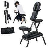 New Portable Massage Chair Tattoo Spa PU Leather Pad w/ Carry Bag Easy To Move Transport | Black