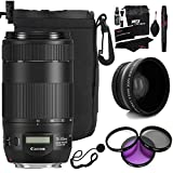 Canon 70-300mm f/4-5.6 IS II USM Lens, 67mm 0.43X Wide Angle Auxiliary Screw On Lens, Filter Kit, Ritz Gear Cleaning Kit, Protective Pouch, Polaroid Lens Cap Strap and Accessory Bundle