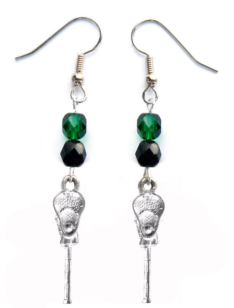 ''Lacrosse Stick & Ball'' Lacrosse Earrings (Team Colors Forest Green & Black)