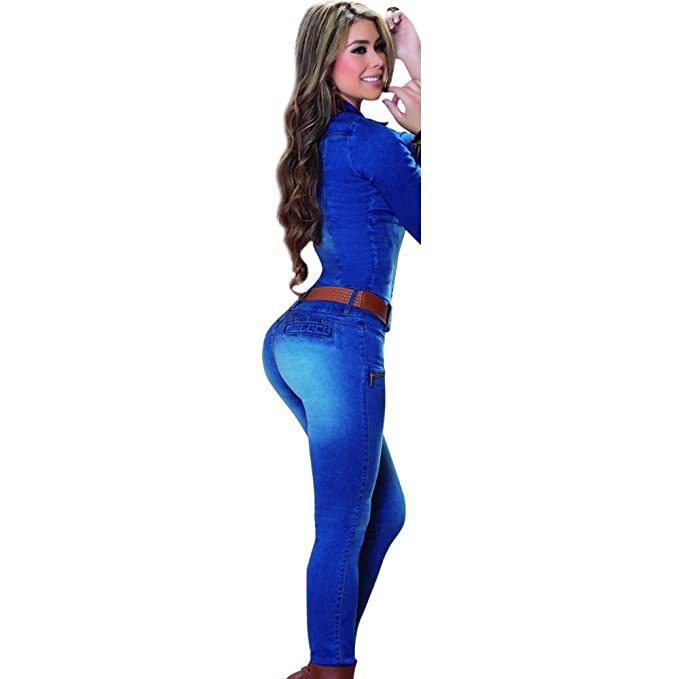 a7167b6051 Slimming Jumpsuit Butt Lifting Jean Enterizo Colombiano Levanta Cola Blue