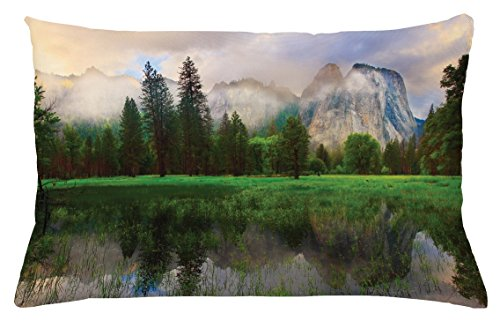 Ambesonne Yosemite Throw Pillow Cushion Cover, Sunset Panorama of Yosemite Cathedral Rocks Trees Cloudy Sky Reflection Riverside, Decorative Accent Pillow Case, 26 W X 16 L inches, Beige Green - Riverside Deck Chair Set